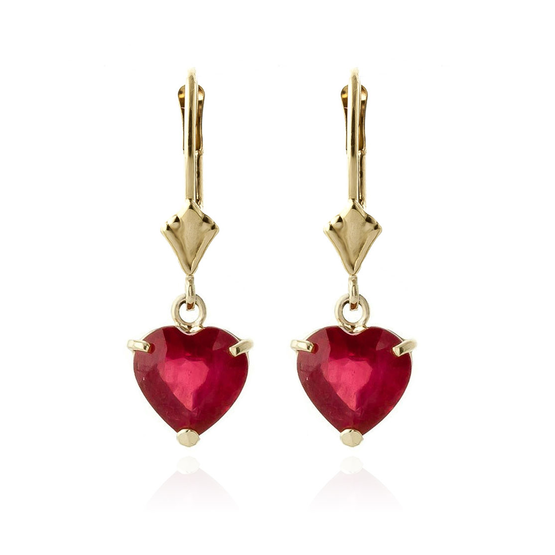 Ruby Drop Earrings 2.9 ctw in 9ct Gold
