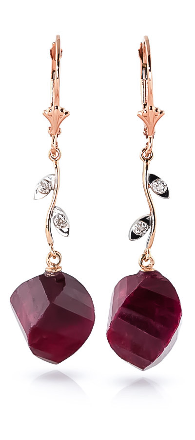 Ruby Drop Earrings 30.52 ctw in 9ct Rose Gold