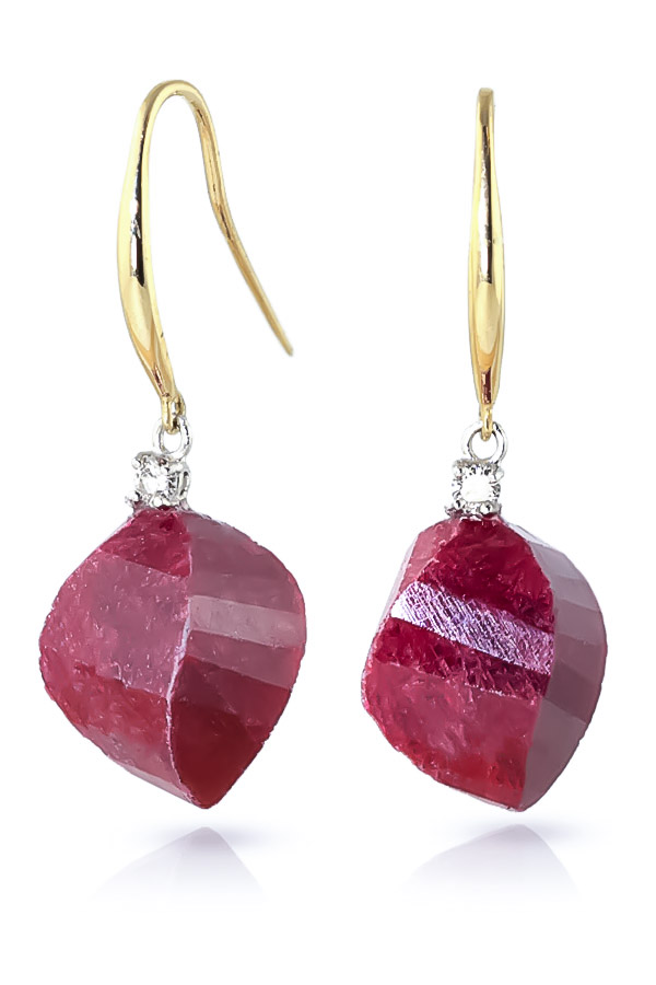 Ruby Drop Earrings 30.6 ctw in 9ct Gold