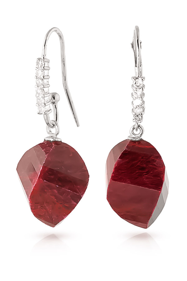 Ruby Drop Earrings 30.68 ctw in 9ct White Gold