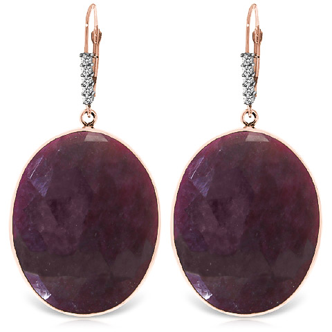 Ruby Drop Earrings 39.15 ctw in 9ct Rose Gold
