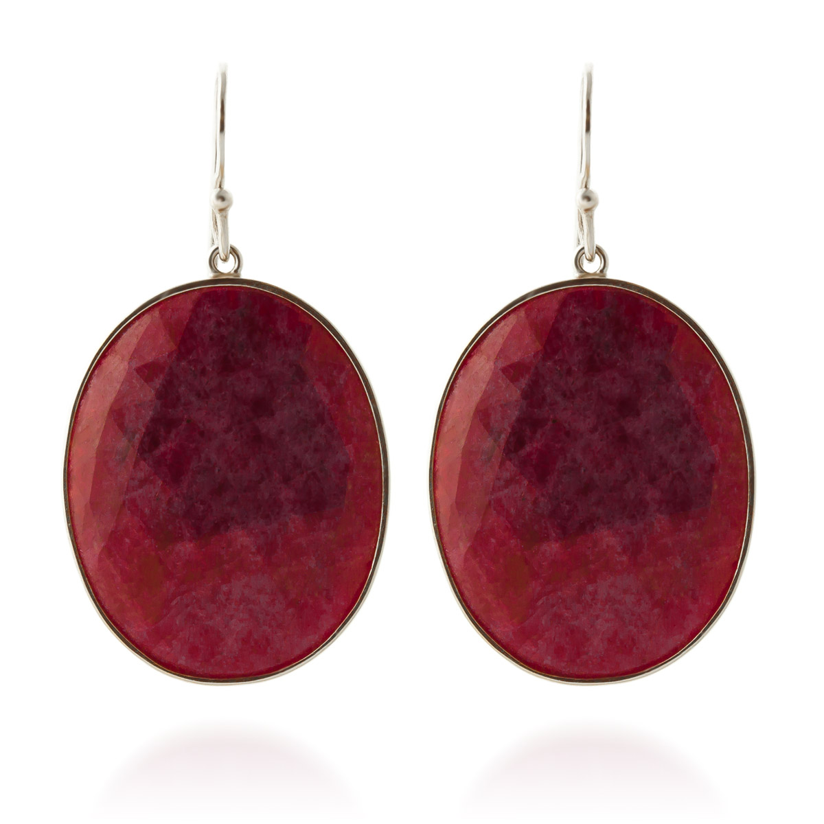 Ruby Drop Earrings 39 ctw in 9ct White Gold
