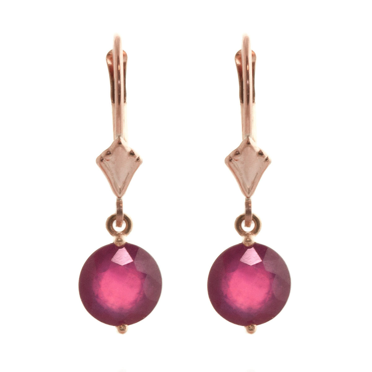 Ruby Drop Earrings 4 ctw in 9ct Rose Gold