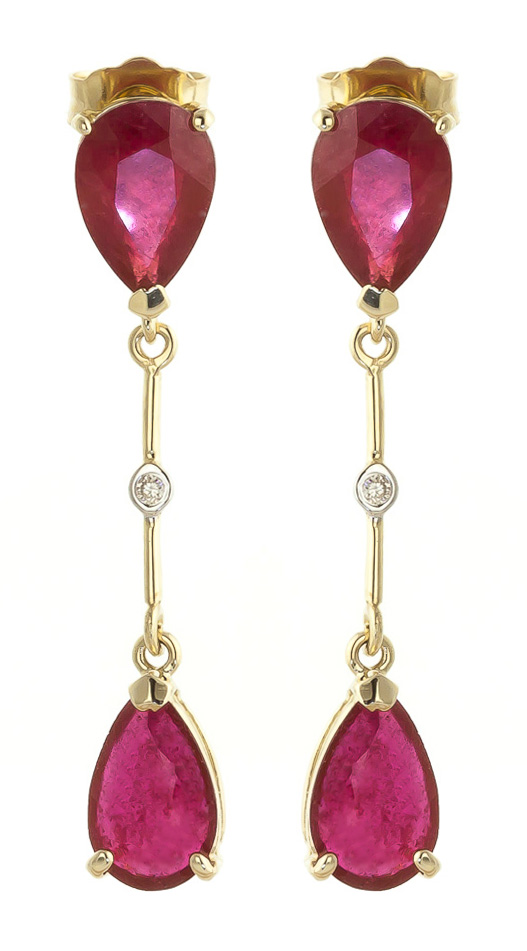 Ruby Drop Earrings 7.01 ctw in 9ct Gold