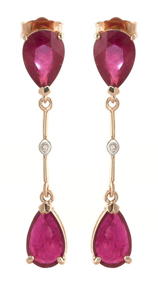 Ruby Drop Earrings 7.01 ctw in 9ct Rose Gold