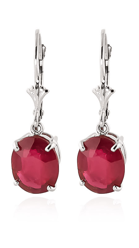 Ruby Drop Earrings 7 ctw in 9ct White Gold