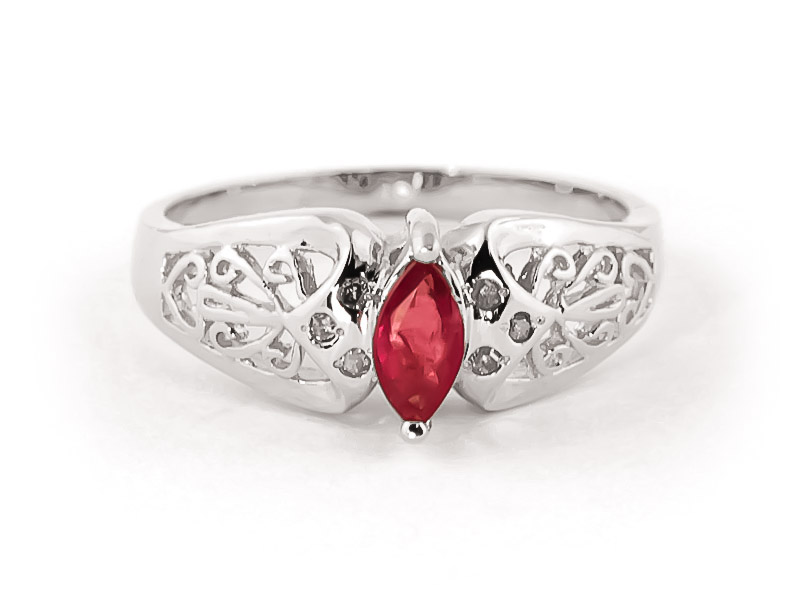 Ruby Filigree Ring 0.2 ct in 9ct White Gold
