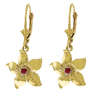 Ruby Flower Star Drop Earrings 0.2 ctw in 9ct Gold