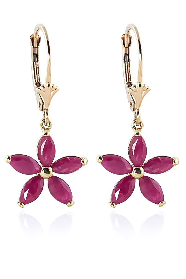 Ruby Flower Star Drop Earrings 2.8 ctw in 9ct Gold