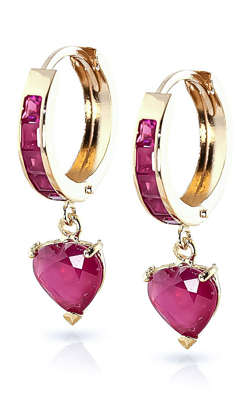 Ruby Huggie Earrings 0.85 ctw in 9ct Gold