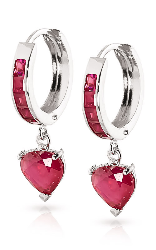 Ruby Huggie Earrings 0.85 ctw in 9ct White Gold