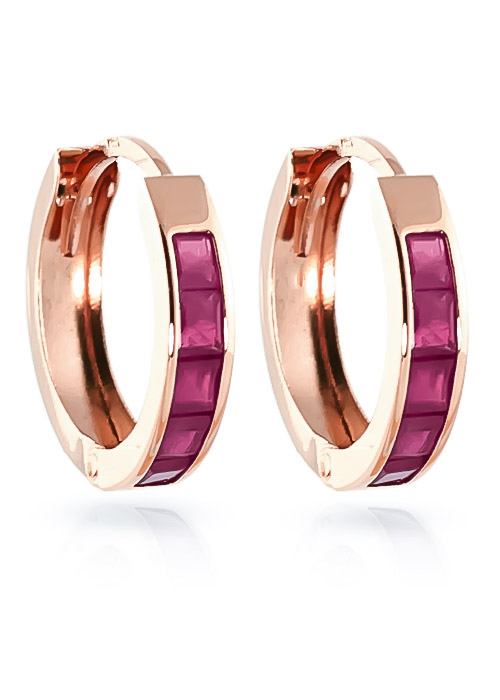 Ruby Huggie Earrings 1.3 ctw in 9ct Rose Gold