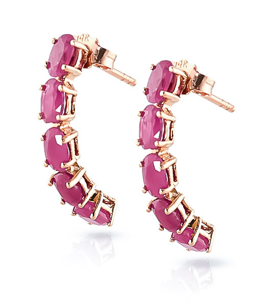 Ruby Linear Stud Earrings 2.5 ctw in 9ct Rose Gold