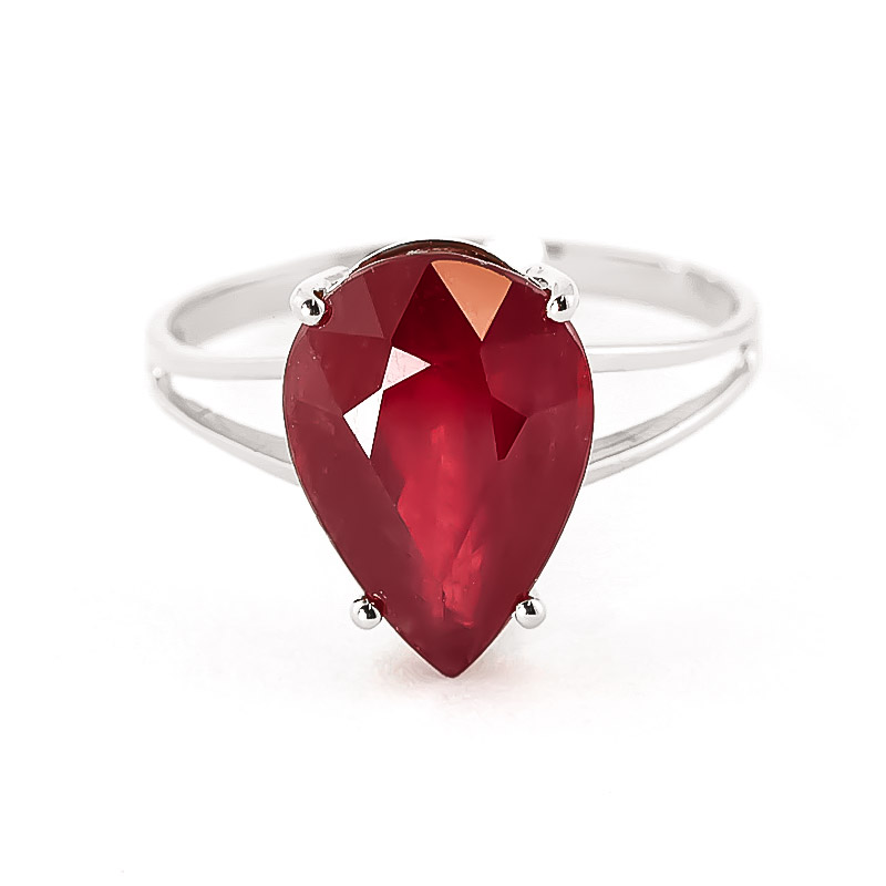 Ruby Pear Drop Ring 5 ct in 18ct White Gold