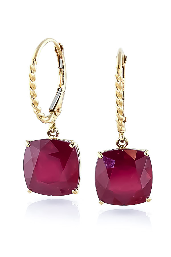 Ruby Rococo Twist Drop Earrings 9.4 ctw in 9ct Gold