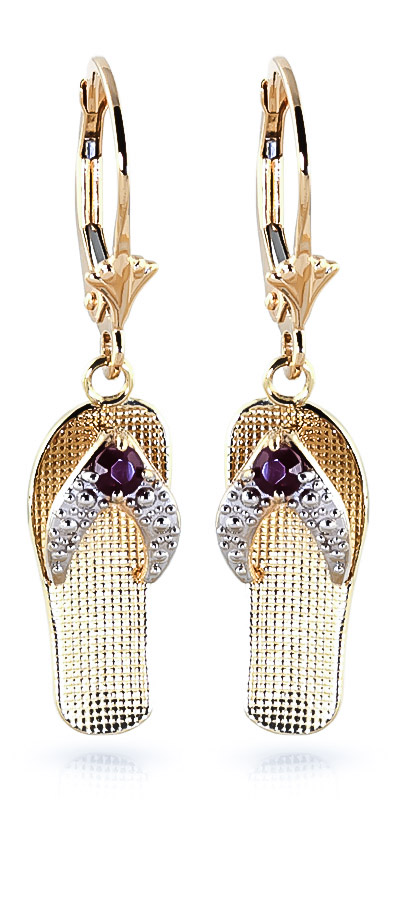 Ruby Sandal Drop Earrings 0.3 ctw in 9ct Gold
