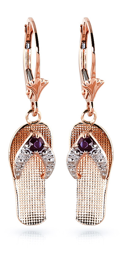 Ruby Sandal Drop Earrings 0.3 ctw in 9ct Rose Gold