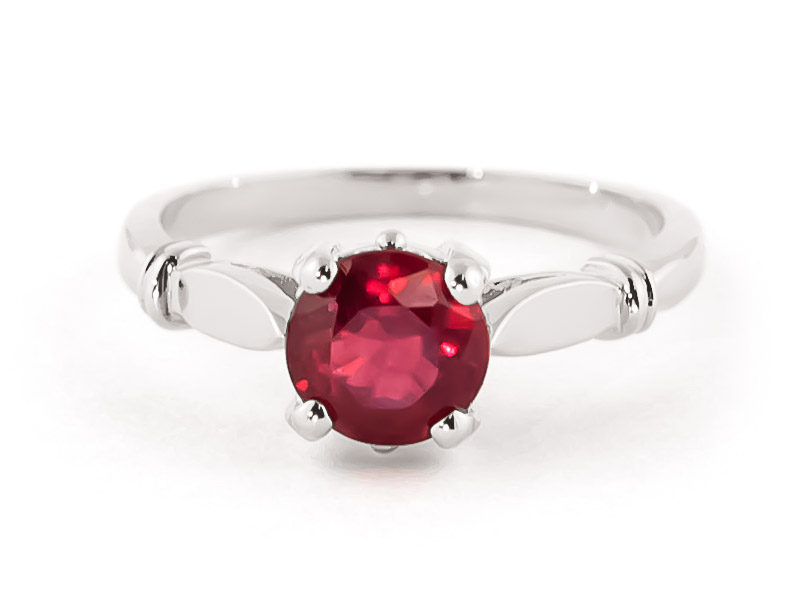 Ruby Solitaire Ring 2 ct in 9ct White Gold