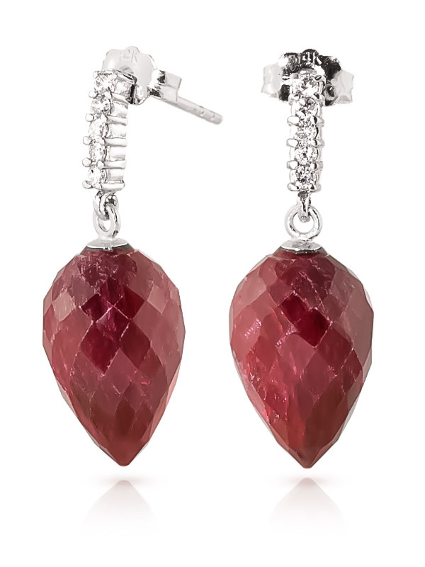 Ruby Stud Earrings 26.25 ctw in 9ct White Gold