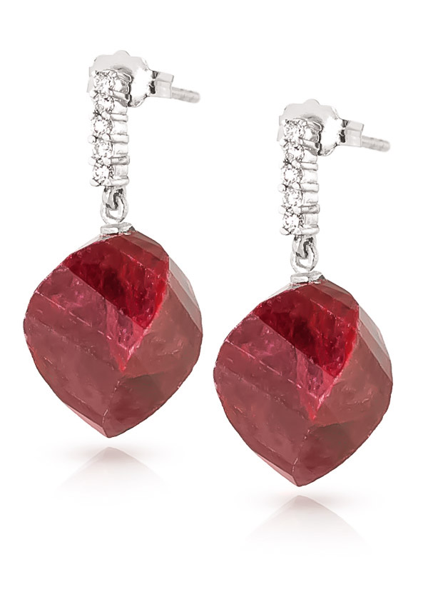 Ruby Stud Earrings 30.65 ctw in 9ct White Gold