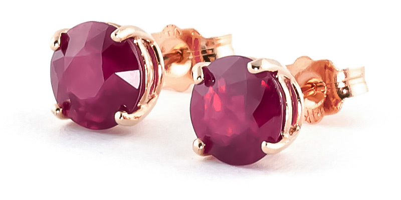 Ruby Stud Earrings 4.5 ctw in 9ct Rose Gold