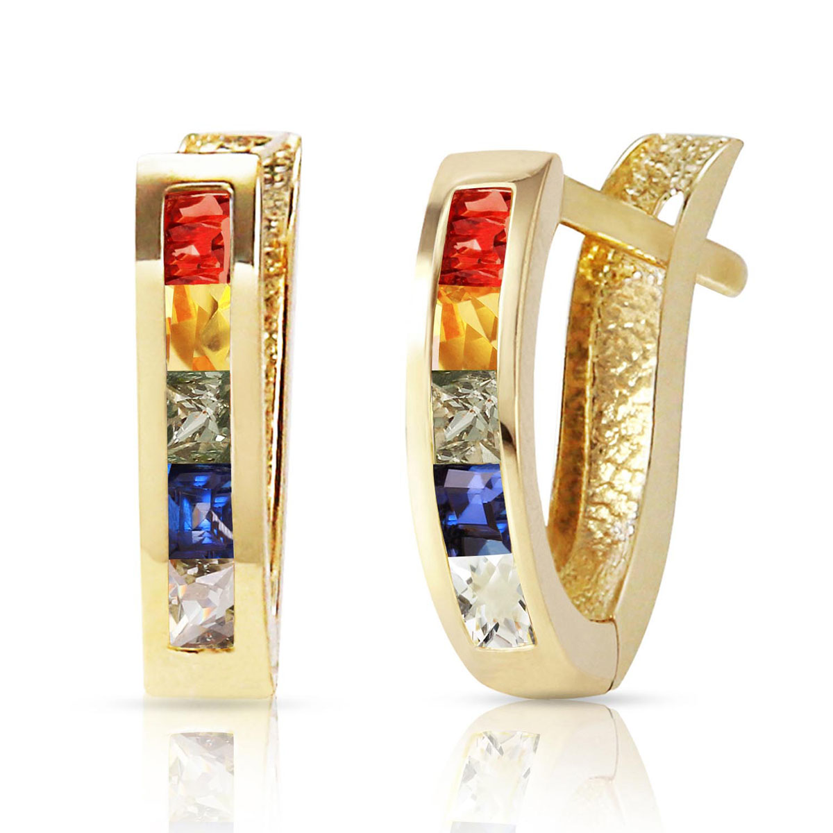 Sapphire Acute Huggie Earrings 1.3 ctw in 9ct Gold