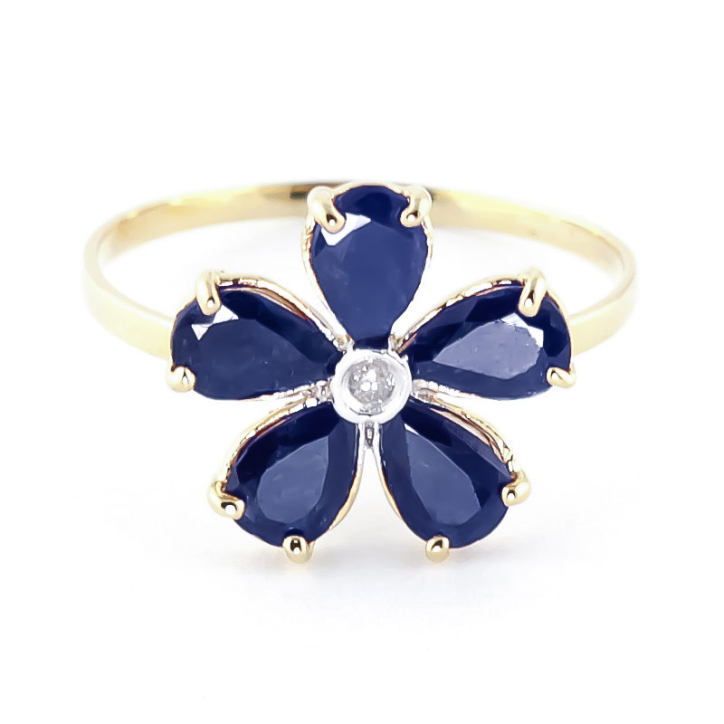 Image of Sapphire & Diamond Five Petal Ring in 9ct Gold