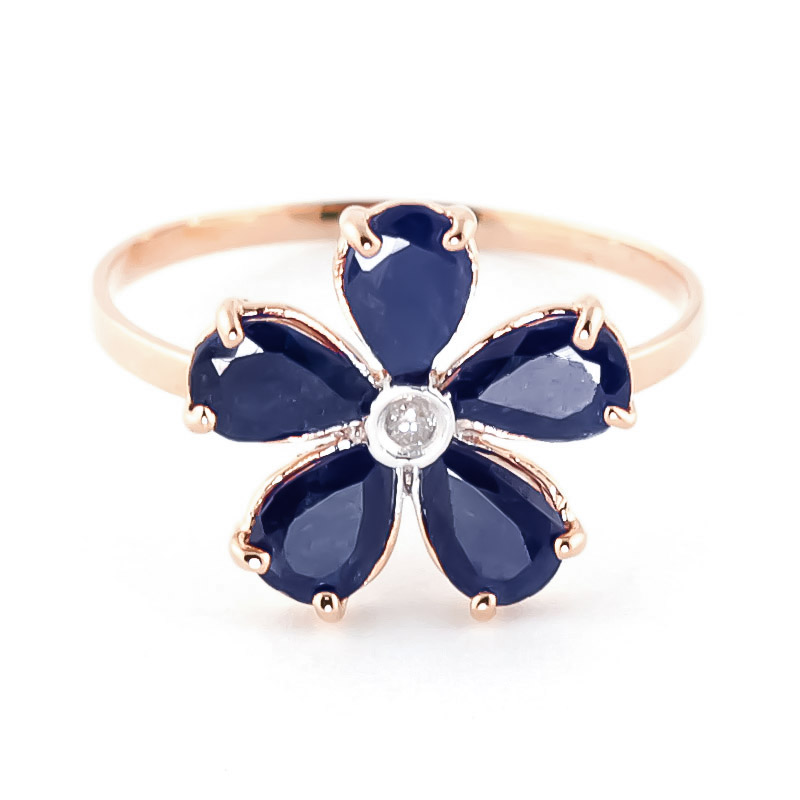 Image of Sapphire & Diamond Five Petal Ring in 9ct Rose Gold