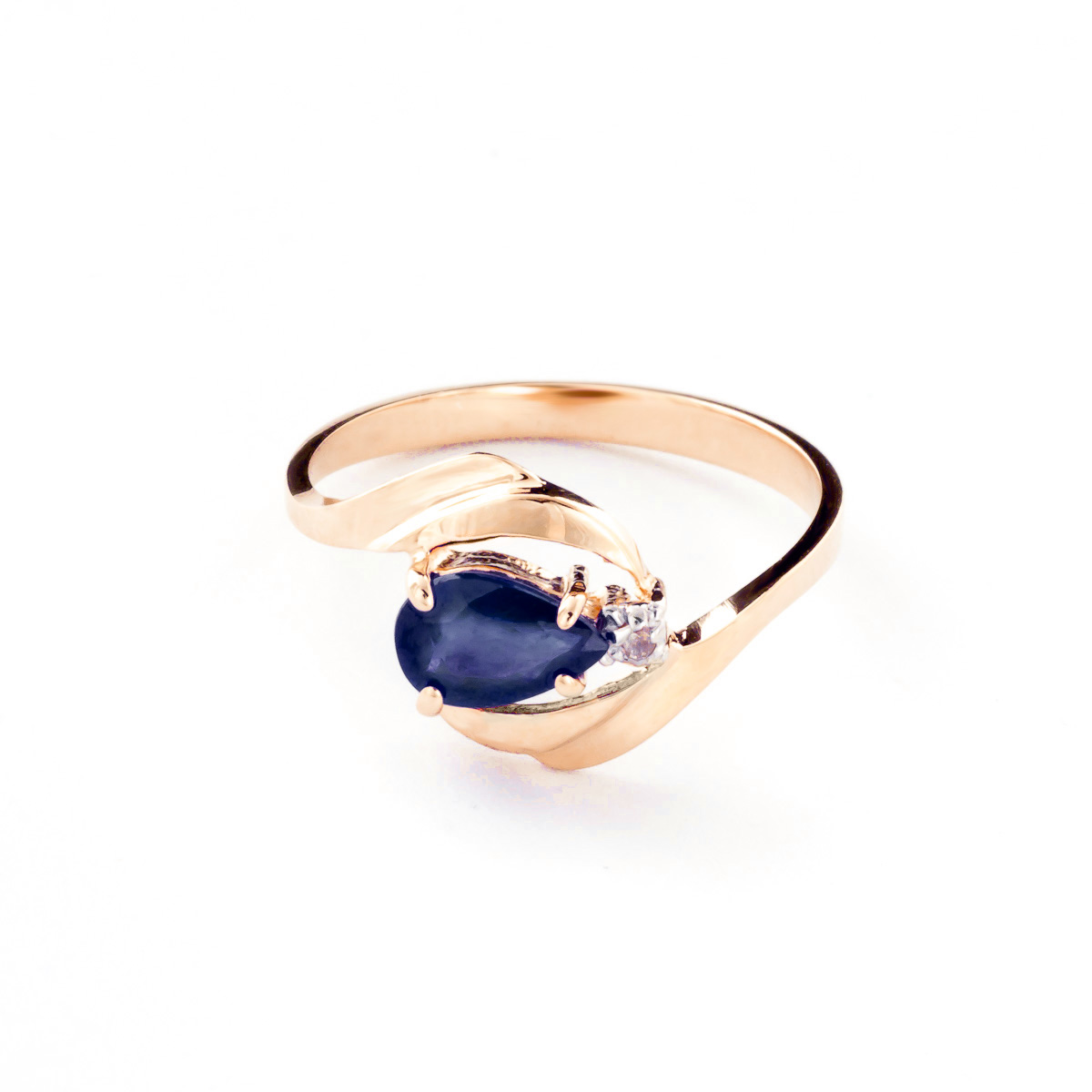 Sapphire & Diamond Flare Ring in 18ct Rose Gold