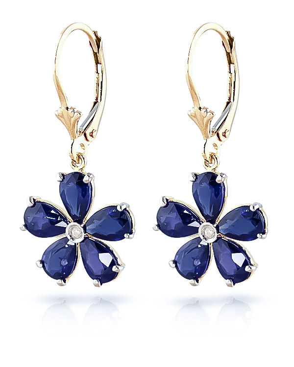 Sapphire & Diamond Flower Petal Drop Earrings in 9ct Gold