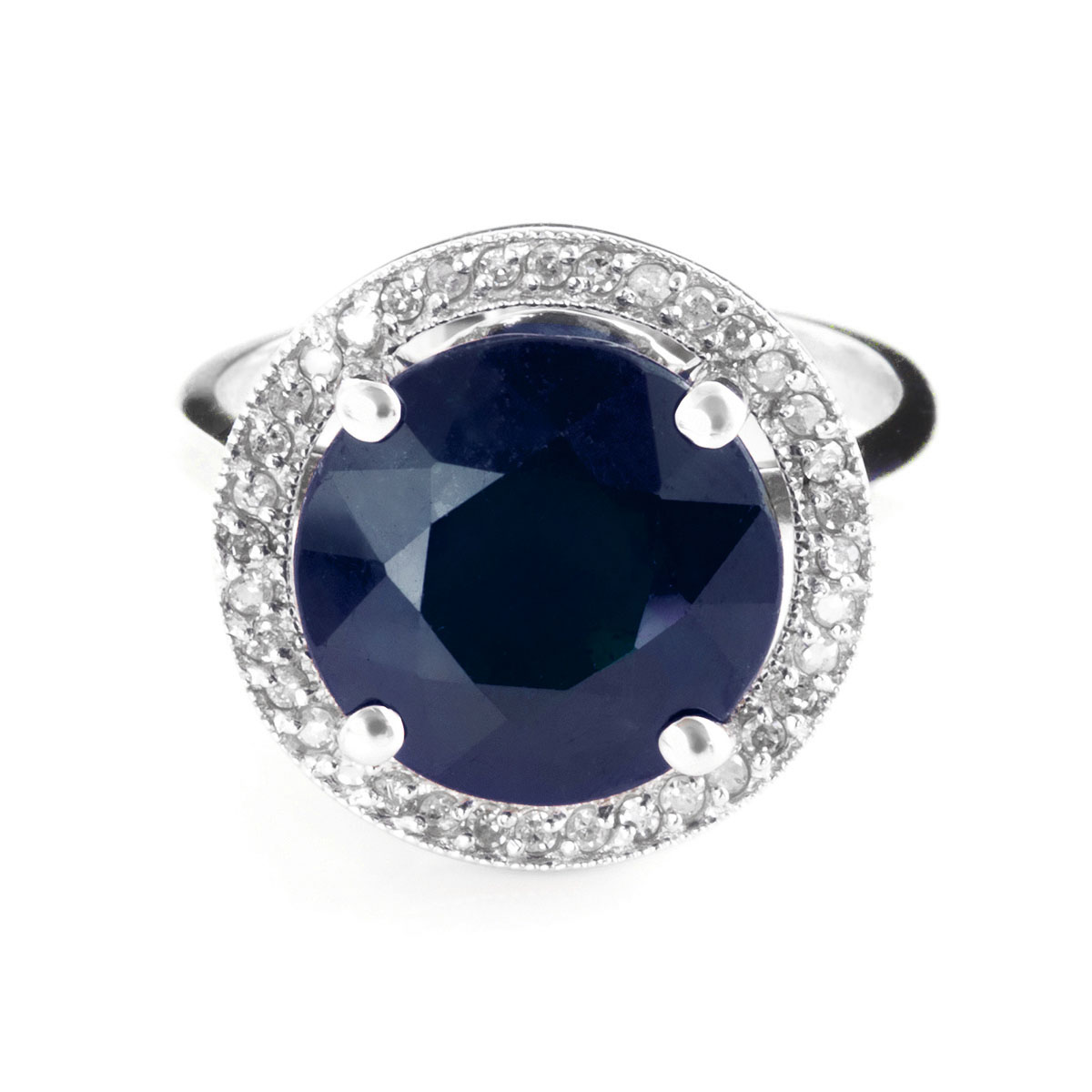 Sapphire & Diamond Halo Ring in 18ct White Gold