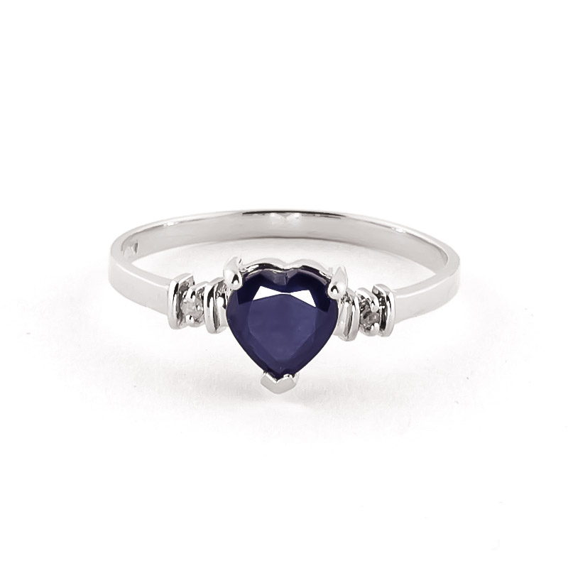Sapphire & Diamond Heart Ring in Sterling Silver