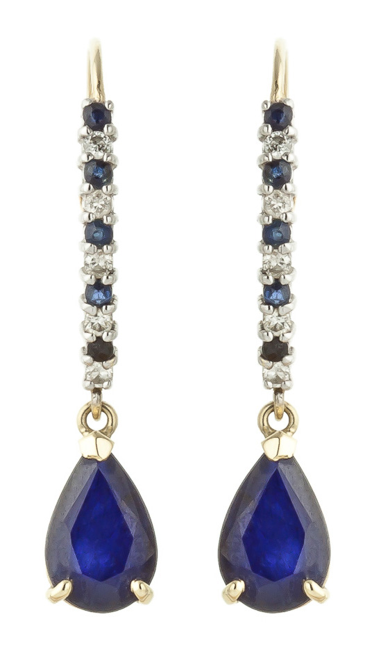 Sapphire & Diamond Laced Stem Drop Earrings in 9ct Gold