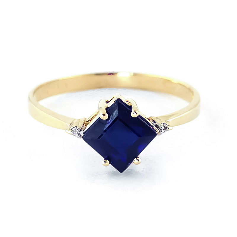 Sapphire & Diamond Princess Ring in 9ct Gold
