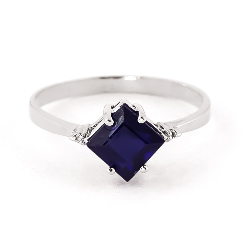 Sapphire & Diamond Princess Ring in 18ct White Gold