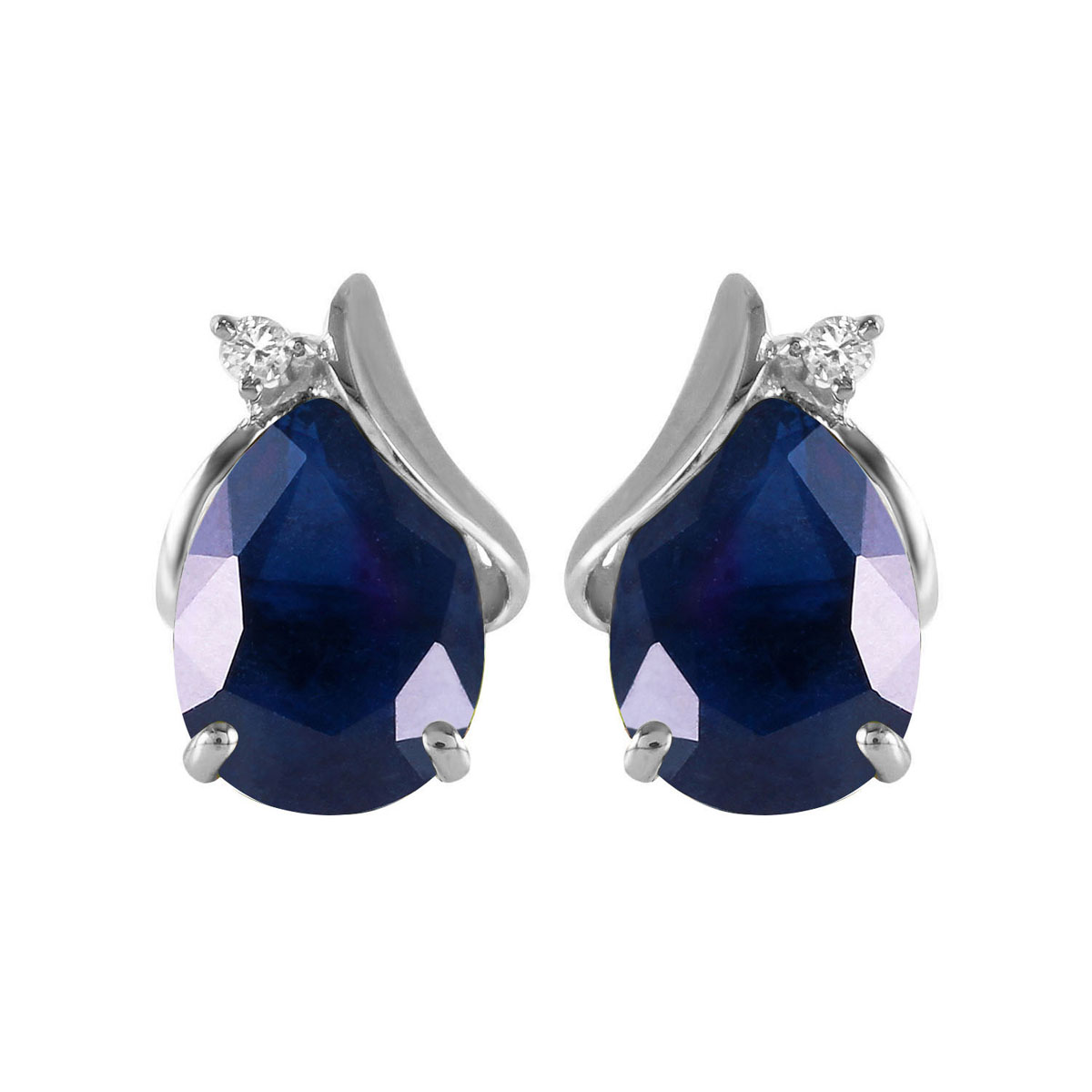 Sapphire & Diamond Stud Earrings in 9ct White Gold
