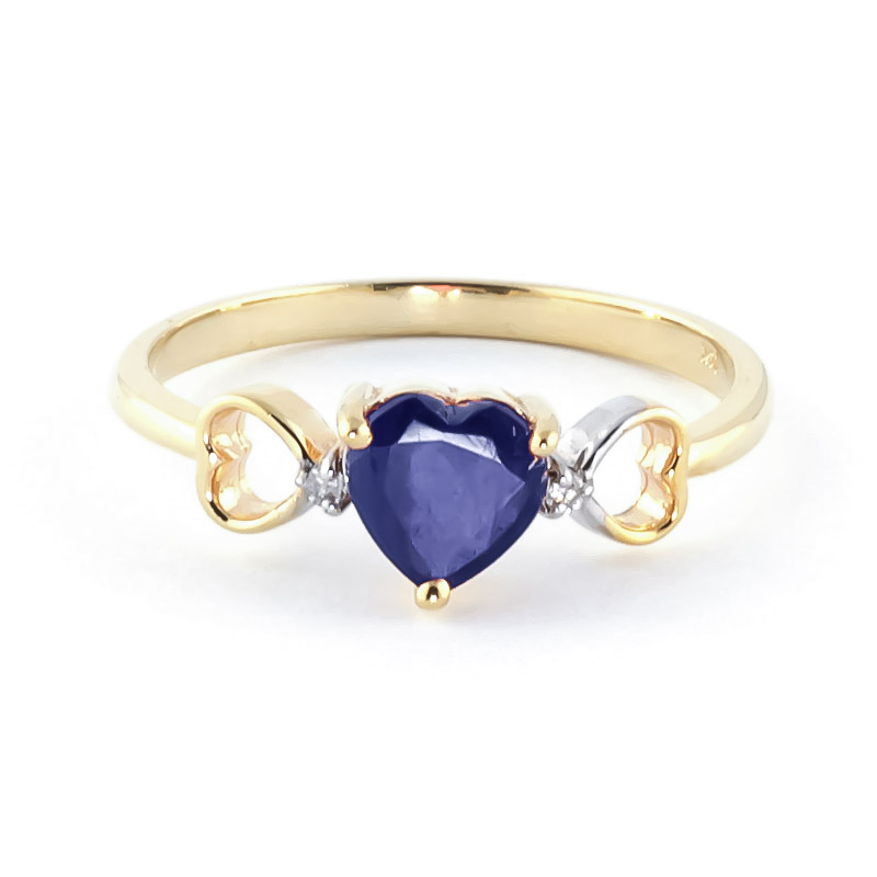 Sapphire & Diamond Trinity Ring in 9ct Gold