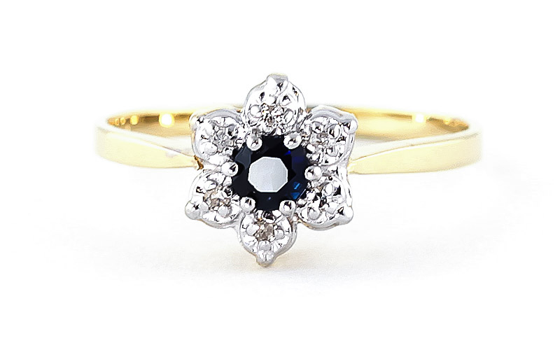 Sapphire & Diamond Wildflower Cluster Ring in 9ct Gold