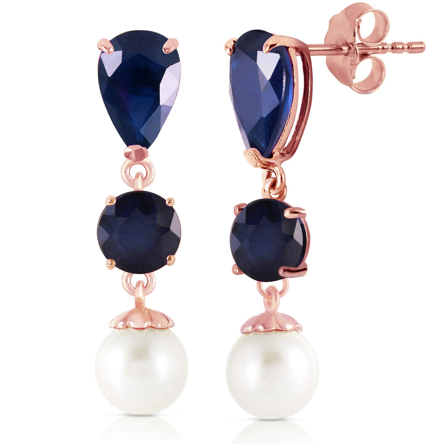 Sapphire & Pearl Drop Earrings in 9ct Rose Gold