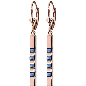 Sapphire Bar Drop Earrings 0.7 ctw in 9ct Rose Gold