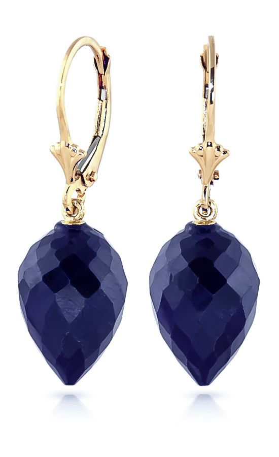 Sapphire Briolette Drop Earrings 25.7 ctw in 9ct Gold