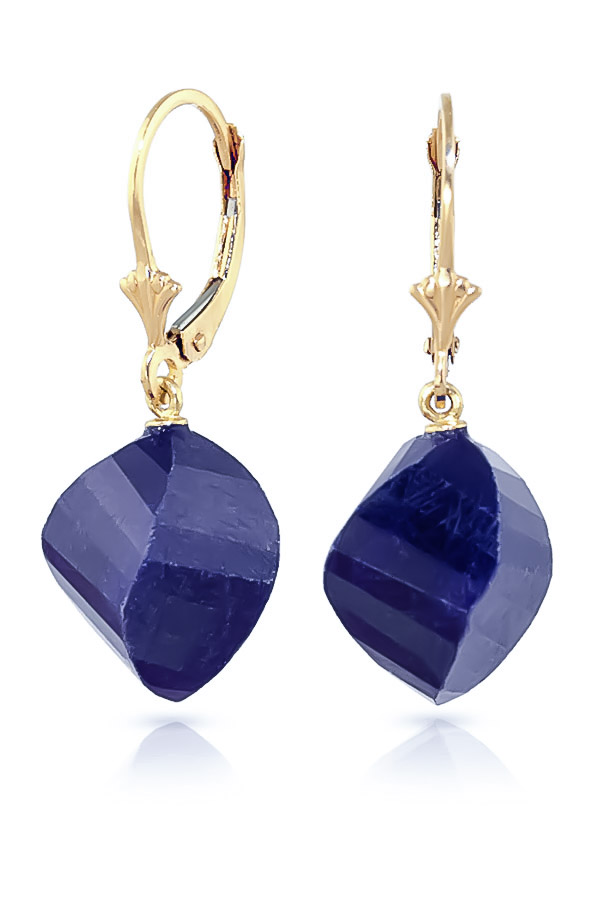 Sapphire Briolette Drop Earrings 30.5 ctw in 9ct Gold
