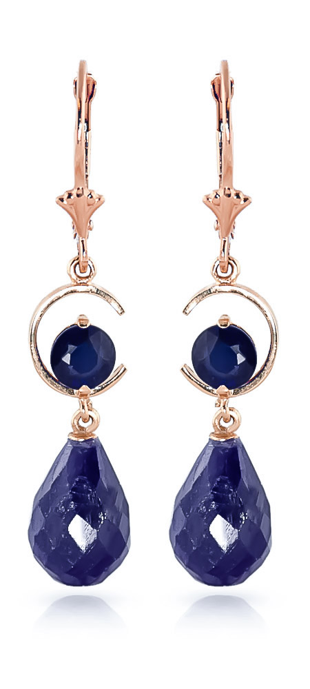Sapphire Drop Earrings 18.6 ctw in 9ct Rose Gold