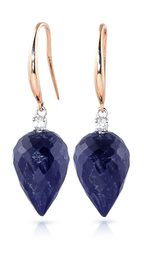Sapphire Drop Earrings 25.9 ctw in 9ct Rose Gold