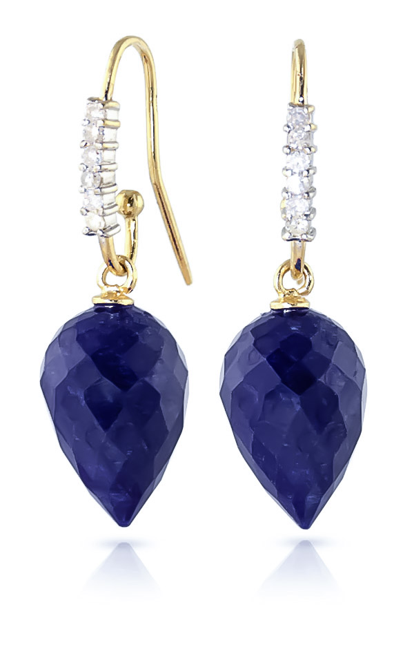 Sapphire Drop Earrings 25.98 ctw in 9ct Gold