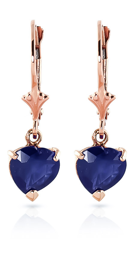 Sapphire Drop Earrings 3.1 ctw in 9ct Rose Gold