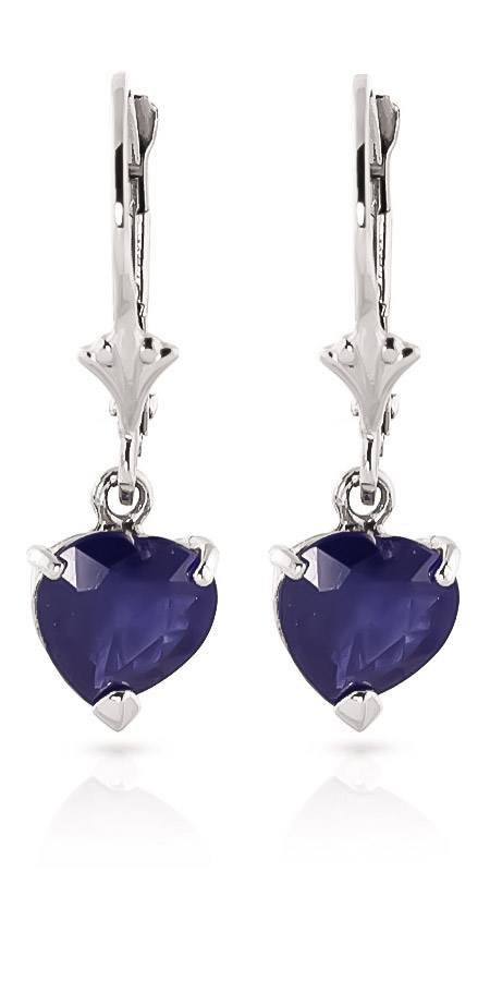Sapphire Drop Earrings 3.1 ctw in 9ct White Gold