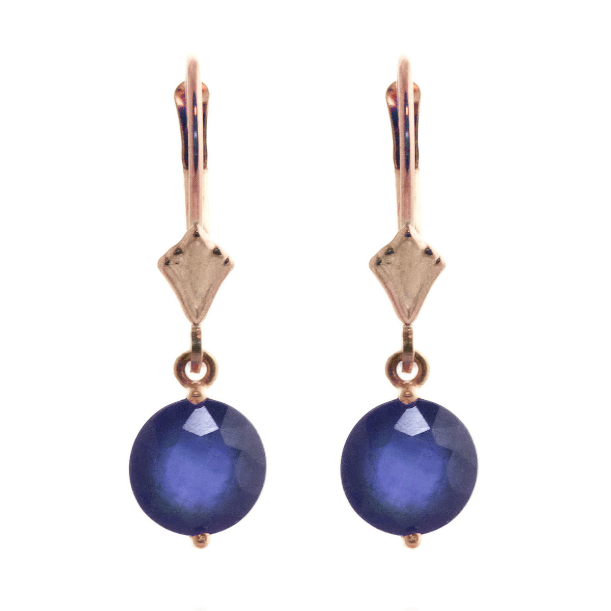 Sapphire Drop Earrings 3.3 ctw in 9ct Rose Gold