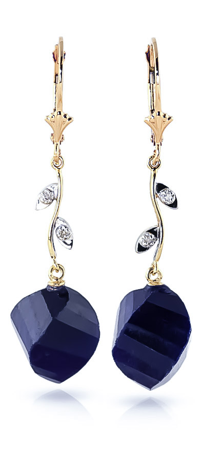 Sapphire Drop Earrings 30.52 ctw in 9ct Gold
