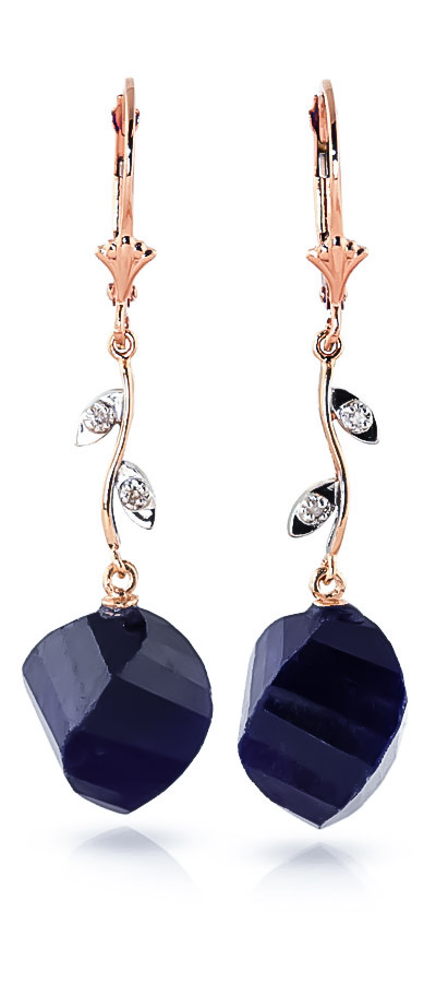 Sapphire Drop Earrings 30.52 ctw in 9ct Rose Gold